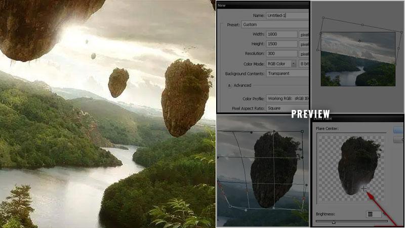Create a Floating Island Scene Similar to James Cameron's Avatar