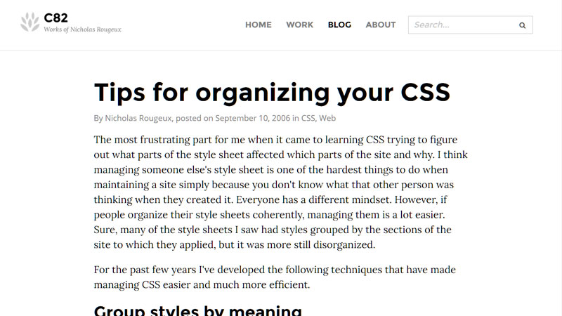 Tips for organizing your CSS