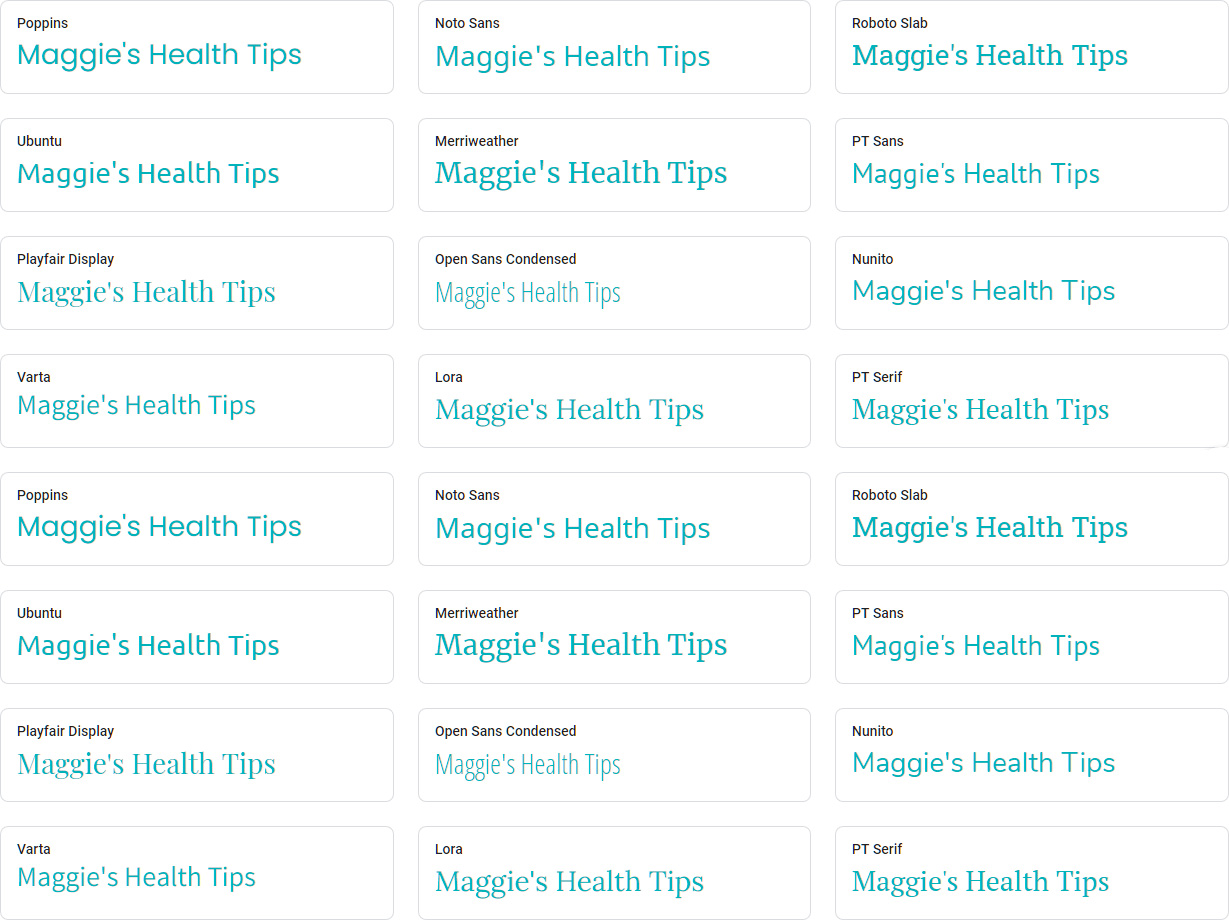 Maggies Health Tips Fonts